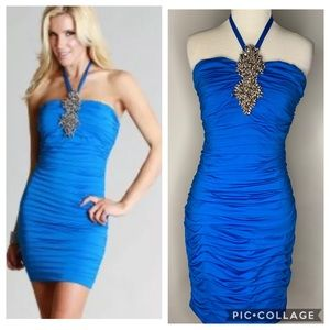 Blue bodycon jewel halter New Years dress